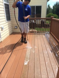 Pressure Washing a deck in Lehigh Valley, PA