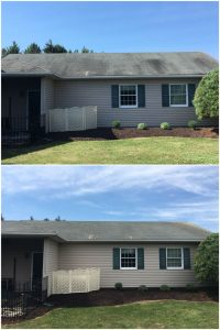 Before and After Roof Cleaning in Allentown, PA by Grime Fighters