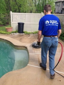 Concrete Cleaning in Progress by Grime Fighters in Lehigh Valley, PA