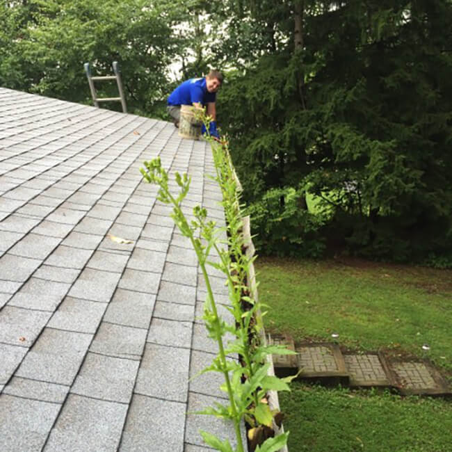 Grime Fighters cleaning gutters for home in center valley pa
