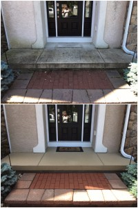 Before and After Concrete and Brick Cleaning in Lehigh Valley, PA by Grime Fighters